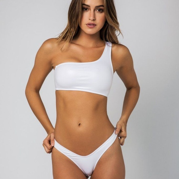 ec43950c5df60 Swim | Nwotwhite Fringe One Shoulder Bikini | Poshmark